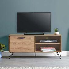 VonHaus Capri TV Unit 120cm Oak Effect Console Table Pull Down Door & 2 Shelves