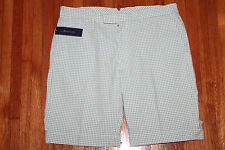 Mens Polo Ralph Lauren Flat Front Green Check Seersucker Shorts Size 35 NWT $89