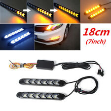 "7"" Car White/Amber LED Knight Rider Strip Light Headlight Turn Signal Waterproof"