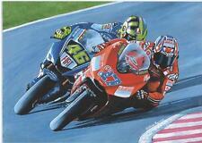 Valentino Rossi y Casey Stoner 2007 impresión de arte