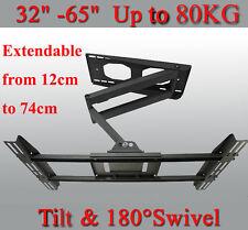 """Full Motion Heavy Duty TV Mount 180° Swivel & -5°~15° Tilt Bracket 32-65"""" Screen"""