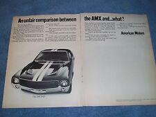 """1969 AMC AMX Vintage Ad """"Unfair Comparison Between the AMX and...What?"""""""