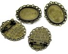"""Cabochon Brooch Cameo Pin Setting 1.5"""" Picture Steampunk Bronze Brass Lot of 6"""