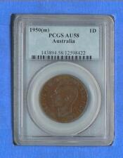 1950 (m) Australia 1-D One Penny  PCGS AU58  *STUNNING Coin with Copper Colors*