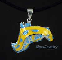 Sterling Silver Colourful Nudibranch Sea Slug Pendant Necklace marine sealife AU
