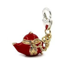 Silver & Gold Plated Red Enamel Lucky Genie Lamp Clip on Charm for Bracelets