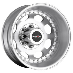"Vision 181 Hauler Dually Rear 19.5x6.75 8x6.5"" Machined Wheel Rim 19.5"" Inch"