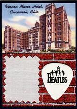 Beatles 1966 Cincinnati Bed Sheet White Guitar Pick Display Vernon Manor Hotel