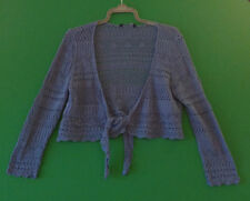 ~BLUE~LONG SLEEVE~TIE UP~LACE SHRUG~SIZE L~