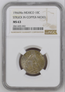 Mexico UNIQUE 10 Centavos 1966 STRUCK ON COPPER-NICKEL Certified NGC MS-63