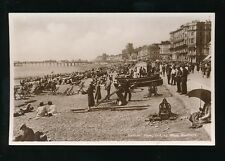 Sussex HASTINGS Busy Beach Scene Dimarcos Ices c1920/30s? RP PPC