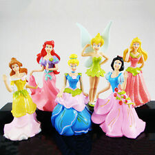 6x Princess Cinderella Belle Snow White Tinkerbell Aurora Ariel Figures Toy Set