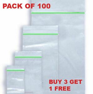 100 Small Clear Bags Plastic BAGGY 20x20/25x25/40X40/45 x45/50x50 mm Zipper Lock