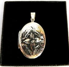 Sterling Silver engraved Flower Oval Photo Memory Locket Charm Pendant keepsake