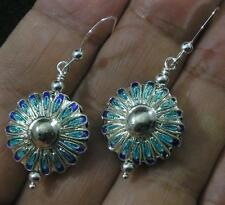 .925 Sterling Silver Cloisonne Abstract Flower Enamel Blue Aqua Hook Earrings