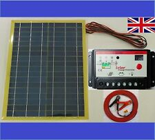 20w Light Solar Panel + 10A 12v 24v Battery Charger + 8m cable c/w fuse & clips