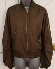 TOPSHOP Size 10 Bomber Jacket/Coat Khaki Green Immaculate Women's Ladies Satin