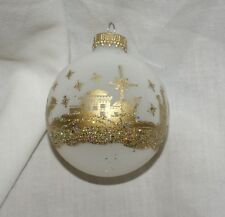 Nativity Ornament Christmas White Frosted w/ Gold Painted Iridescent Glittered