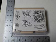 STAMPIN UP TRUE LOVE HEARTS KEY WOOD MOUNTED RUBBER STAMPS NEW A4894