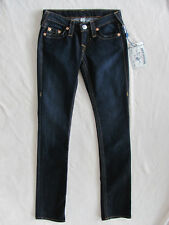 True Religion Straight Jeans -Red Orange Stitch-Lonestar Dark -Size 24- NWT $189