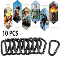 Hot! 10Pcs Black D Shaped Aluminum Alloy Carabiner Hook Outdoor Camping Keychain