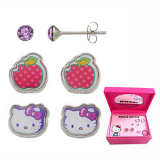 HELLO KITTY 3 PIECES EARRINGS SET W JEWELRY BOX + LILLEBI HAIR ACCESSORIES SET