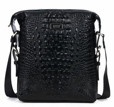 Men Real Leather Crocodile Grain Briefcase CrossBody Messenger Shoulder Bag New