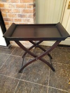 FOLD UP CAMPAIGN BUTLERS SUITCASE TRAY TOP WOODEN TABLE