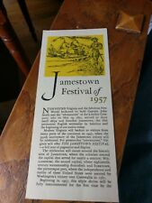 1957 Jamestown Festival One page brochure. The Travis House