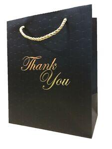 Black Gift Bags with handles Bulk Lot Medium Thank You Paper Heavy Duty Premium