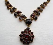 Antique Art Deco Silver Gilt Czech Garnet Drop Necklace
