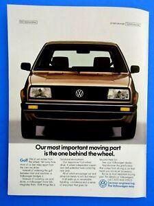 """1988 Volkswagen Golf Most Important Part Original Regional Print Ad 8.5 x 11"""""""