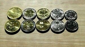 Libya Coins Full Set of 5 pcs. (50, 100 Dirham) & (1/4 Din,1/2 Din, 1 Dinar) UNC