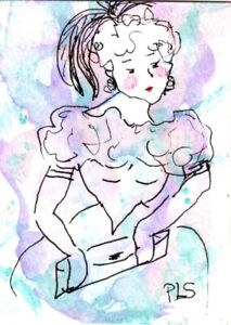 ACEO Lady in the mist WC + Pen illustration sketch art loose style Penny StewArt