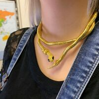 Snake Necklace Choker Bracelet Women Gold Black Ladies Costume Chain Fancy Dress