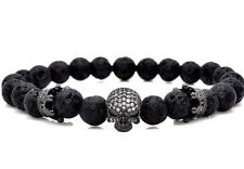 UK Mens Natural Stone Lava Rock Crystal CZ Skull Beaded Bracelet Wrap for Guys