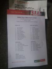 Stoke City v West Ham United, 2017-18, ticket plus teamsheet