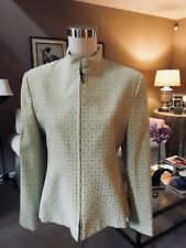 Zanella Woman's Size 12 Jacket Italian Green & Cream Print Zippered New