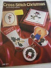 1981 Cross Stitch Christmas Pattern Book 29 Designs Snowman Candle Stocking Tree