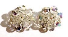 boucles d'oreilles clips bijou vintage perle facette swarovski boréalis  2910