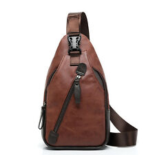Brown Men Rucksack Leather Messenger Shoulder Crossbody Bag Sling Chest Pack