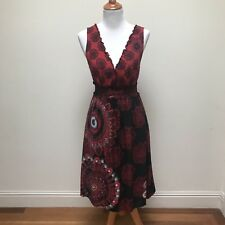 Desigual Women's Dress Size 38 S Sleeveless Red Black Embroidered Sequin Print
