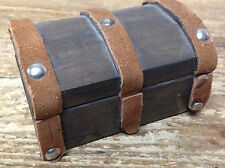 Dollhouse Doll House Trunk Leather Inside Out AsIs Vintage Collectible Round Top