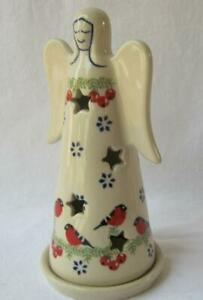 Handmade Polish Pottery Christmas Tea Light Angel Birds Berries red white blue