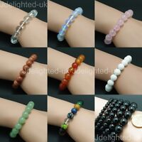 Natural Mixed Gemstone 8mm Round Beads Handmade Stretchy Bracelet Healing Reiki