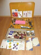 Vintage Sewing Lot Plastic Spool Holder, Pins, Needles, and Buttons LOOK!