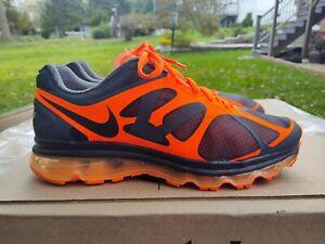 Men's sz 11 Nike Air Max + 2011 Black Orange Athletic Trainer Shoes - CLEAN
