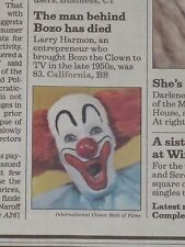 BOZO THE CLOWN HAS DIED / LARRY HARMON / HE WAS 83