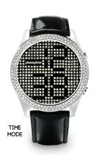 Phosphor Appear Swarovski Black Crystals Mechanical Digital Watch MD005L