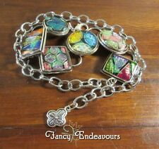 Chico's Dichroic Art Glass Rainbow Iridescent Colors Chain Belt